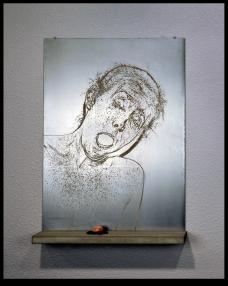 Aquatint on steel, concrete, wood, plumb line chalk, rock, nails. 5 of 9
