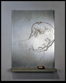 Aquatint on steel, concrete, wood, plumb line chalk, rock, nails. 8 of 9