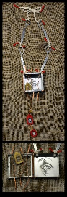 Zinc, copper, beeswax sprue wax, , human hair, cotton cord. Line etching & aquatint